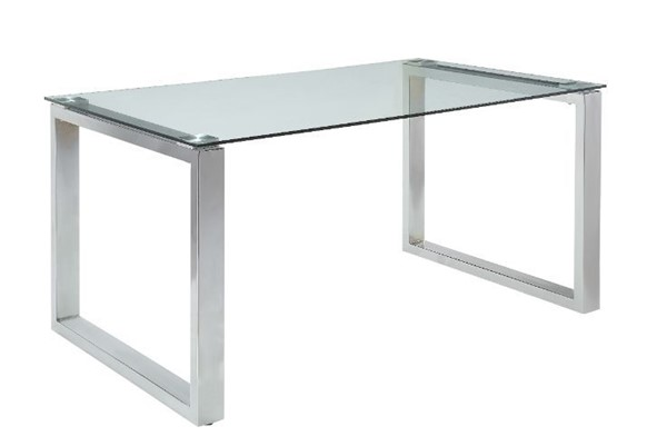 Acme Furniture Abraham Clear Glass Chrome Dining Table ACM-74015