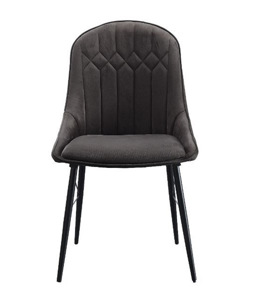 2 Acme Furniture Abraham Gray Fabric Black Side Chairs ACM-74016