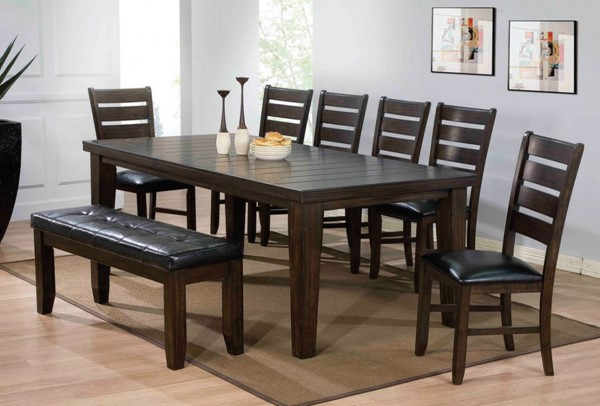 Urbana Casual Black Espresso PU Wood 8pc Dining Room Set ACM-74620-S