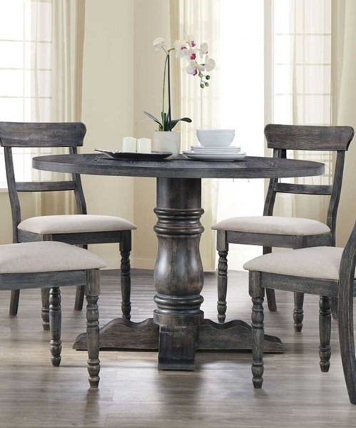 Acme Furniture Wallace Weathered Gray Pedestal Dining Table ACM-74640