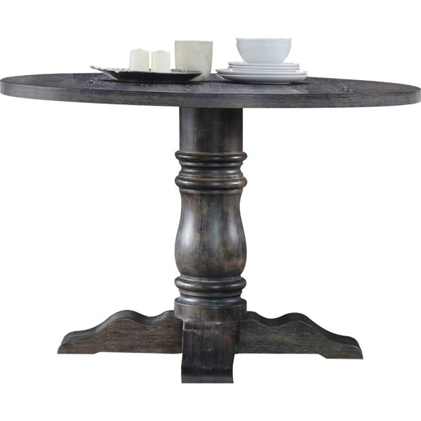 Acme Furniture Leventis Weathered Gray Pedestal Base Dining Table ACM-74640