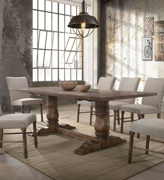 Acme Furniture Leventis Weathered Oak Dining Table ACM-74655
