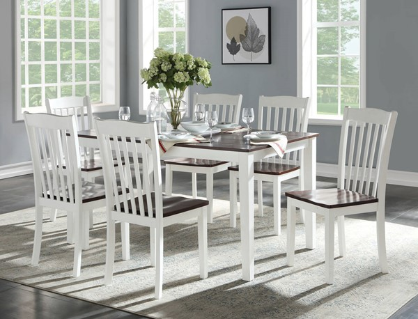 Acme Furniture Green Leigh White Walnut 7pc Dining Room Set ACM-77060