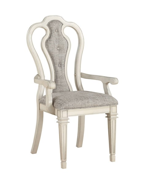 2 Acme Furniture Kayley Antique White Arm Chairs ACM-77138