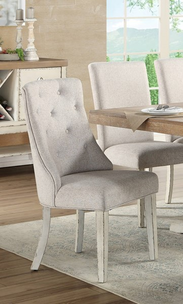 2 Acme Furniture Katet Beige Linen White Wood Arm Chairs ACM-77143