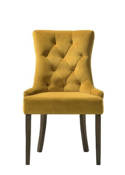 2 Acme Furniture Farren Yellow Espresso Side Chairs ACM-77163