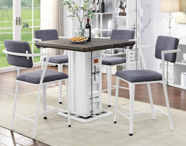 Acme Furniture Cargo Antique Walnut Gray White 5pc Counter Height Set ACM-7788-CHS-S1