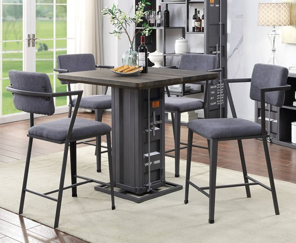 Acme Furniture Cargo Antique Walnut Gray Gunmetal 5pc Counter Height Set ACM-7788-CHS-S2