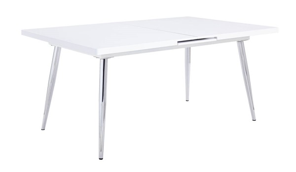 Acme Furniture Weizor White High Gloss Wood Metal Dining Table ACM-77150