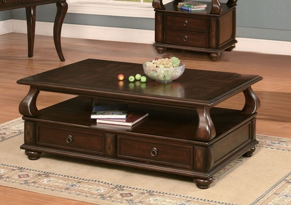 Acme Furniture Amado Walnut Drawers Coffee Table ACM-80010