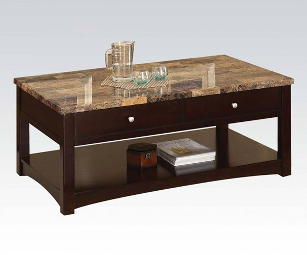 Jas Espresso Faux Marble Wood Coffee Table w/Lift Top ACM-80018