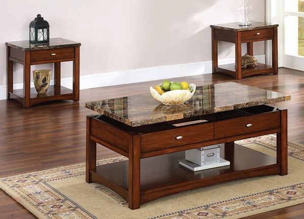 Jas Standard Cherry Faux Marble Wood Coffee Table Set ACM-80020-Set