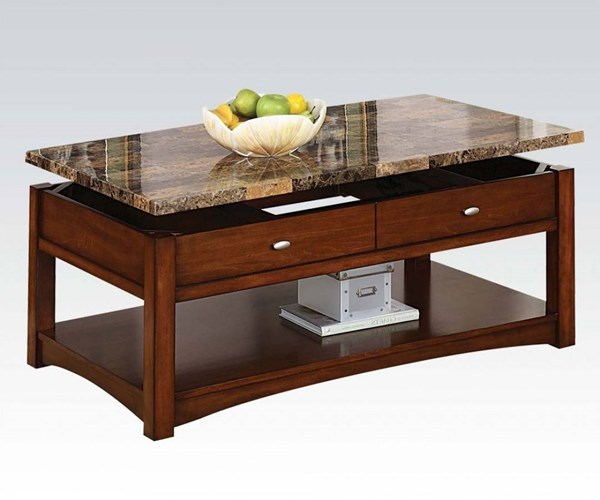 Jas Cherry Faux Marble Wood Coffee Table w/Lift Top ACM-80020