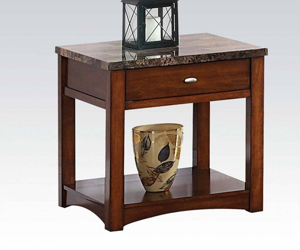 Jas Cherry Faux Marble Wood End Table w/Drawer ACM-80021