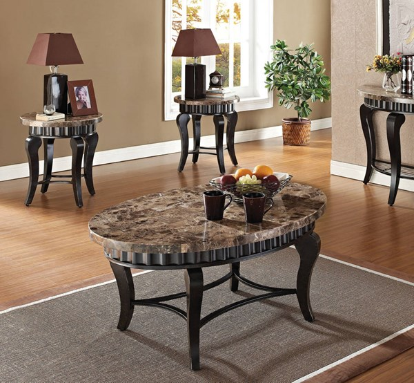 Galiana Brown Marble Wood 3Pc Marble Top Coffee/End Table Set ACM-80068S