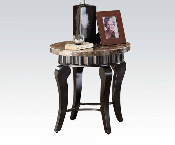 Galiana Transitional Brown Marble Wood End Table ACM-80069
