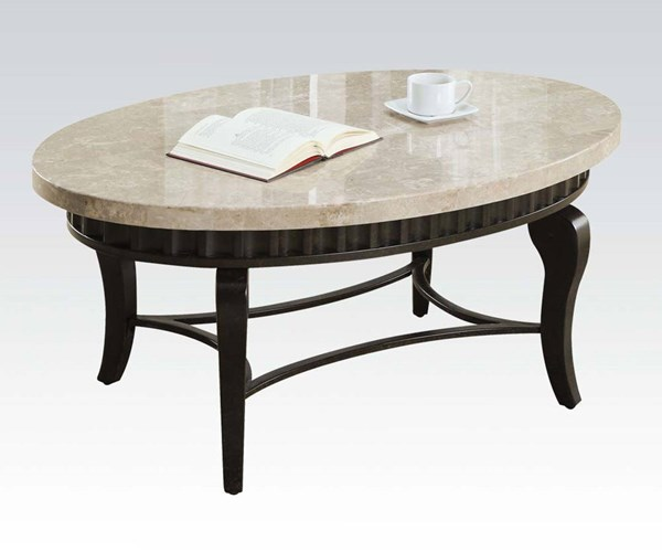 Lorencia White Marble Top Black Gold Metal Coffee Table ACM-80071
