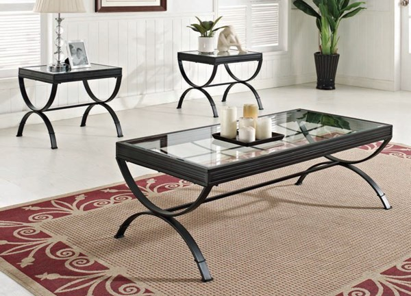 Quintin Black Metal Glass 3pc Pack CoffeeTable Set ACM-80077