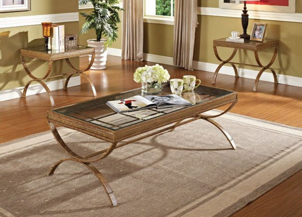 Quintin Gold Metal Glass 3pc Pack Coffee/End Table Set ACM-80080