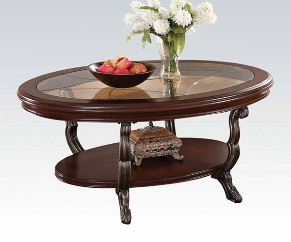 Bavol Cherry Brown Glass Wood Metal Resin Coffee Table ACM-80120