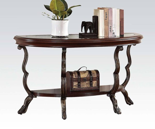 Bavol Cherry Brown Glass Wood Metal Resin Sofa Table ACM-80122