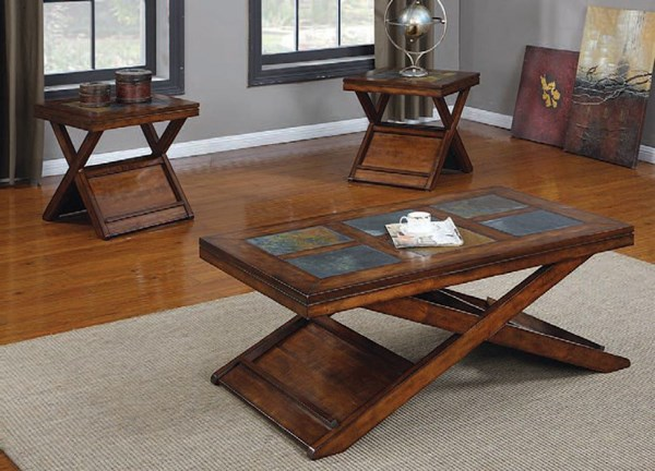 Benicia Dark Oak Slate Wood 3pc Pack Coffee Table Set ACM-80166