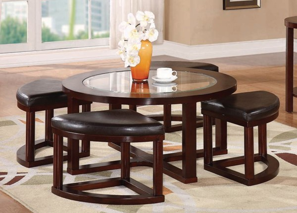 Patia Espresso Wood Glass PU 5pc Pack Coffee Table & Ottomans ACM-80187