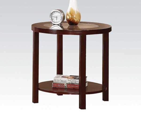 Patia Espresso Wood Glass Round End Table ACM-80189