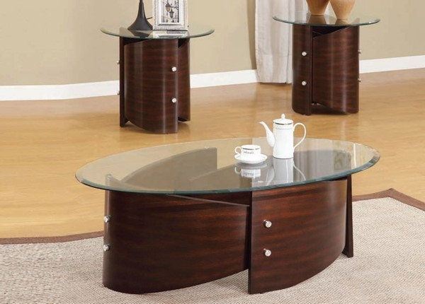 Dajon Espresso Glass Wood 3pc Glass Top Coffee Table Set ACM-80193S