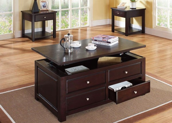 Malden Espresso Wood Rectangle Coffee Table Set ACM-80257-Set