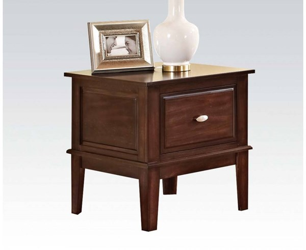 Mahir Walnut Wood Storage Square End Table ACM-80268