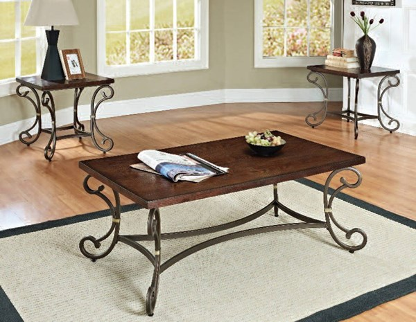 Barnabe Cherry Oak Metal Wood 3pc Pack Coffee Table Set ACM-80286
