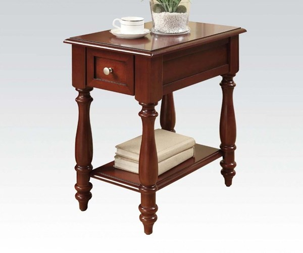 Kasen Cherry Wood Drawer Side Table w/Shelf & Drawer ACM-80294