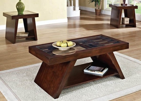 Jelani Brown Cherry Wood 3pc Coffee Table Set ACM-80310S