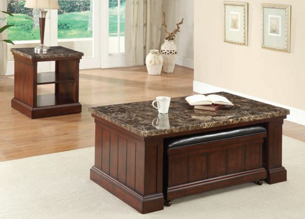 Rodrik Dark Brown Cherry Wood Marble Coffee Table W