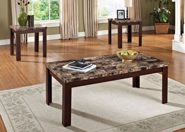 Finely Brown Cherry Faux Marble Wood 3pc Pack Coffee Table Sets ACM-80319-VAR