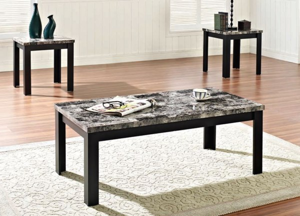 Finely Dark Brown Black Faux Marble Wood 3pc Pack Coffee Table Set ACM-80320