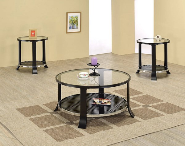 Castor Black Tempered Glass Metal 3pc Coffee Table Set ACM-8034-OCT-S1