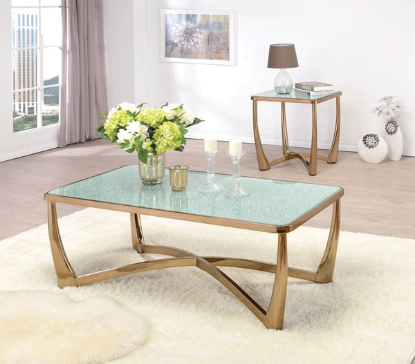 Orlando Champagne Metal Crackle Glass Coffee Table Set ACM-80340-42-OCT