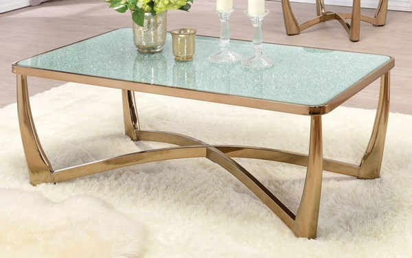 Orlando Champagne Metal Crackle Glass Coffee Table ACM-80340