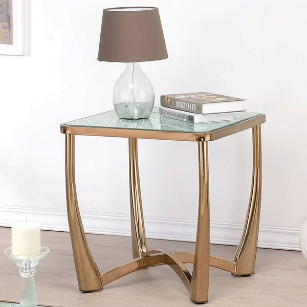 Orlando Champagne Metal Crackle Glass End Table ACM-80342