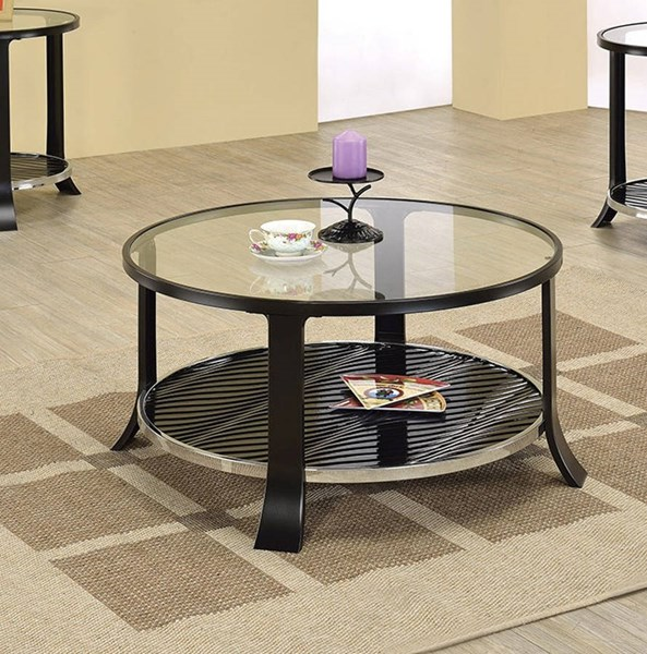 Castor Black Tempered Glass Metal Coffee Table ACM-80346