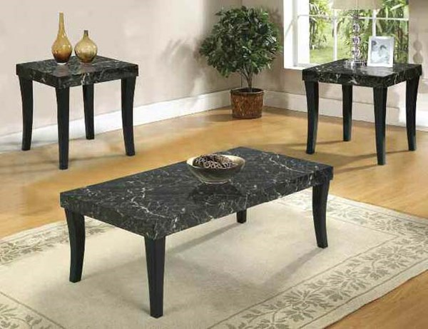 Gale Espresso Faux Marble 3pc Pack Coffee Table Set ACM-80366