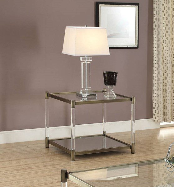 Murray Antique Brass Glass Metal End Table ACM-80382