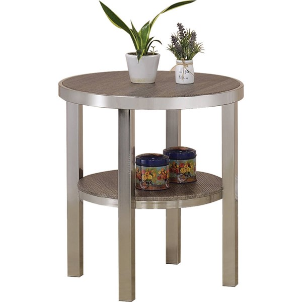 Acme Furniture Elwyn Walnut Nickel End Table ACM-80387