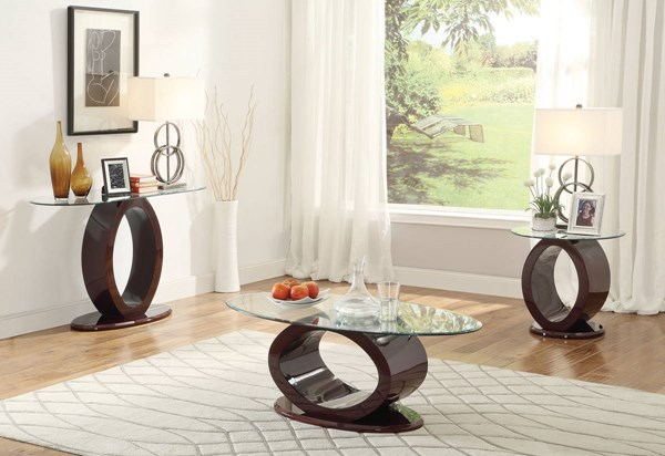 Chastity Wine Tempered Glass Wood Coffee Table Set ACM-8041-OCT