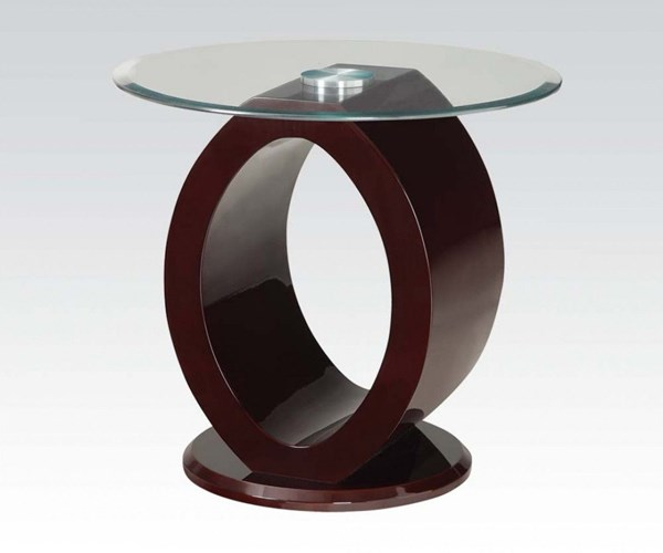 Chastity Wine Round Tempered Glass Wood End Table ACM-80417