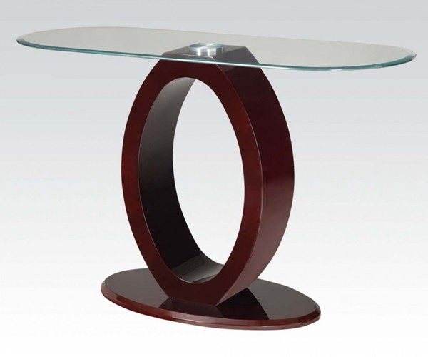 Chastity Wine 8mm Tempered Glass Wood Sofa Table ACM-80419