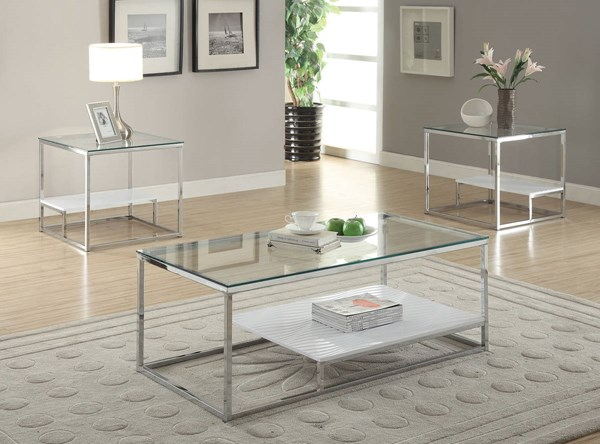 Ruben Chrome Metal Glass Wood Coffee Table Set ACM-80430-OCT