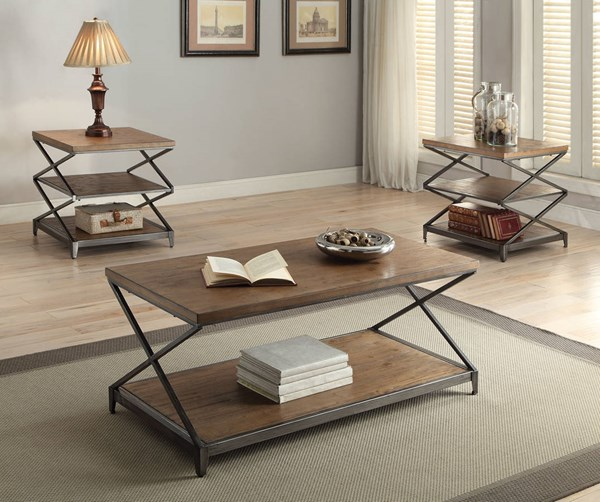 Fabio Contemporary Oak Antique Black Wood Metal 3pc Coffee Table Set ACM-80445-OCT-S1